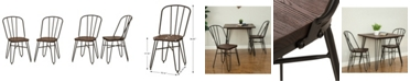 Glitzhome Industrial Steel Dining Chair with Elm Wood Seat Set of 2