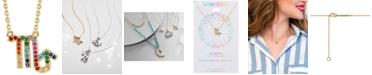 "Unwritten Rainbow Cubic Zirconia Zodiac Pendant Necklace in Gold-Tone Fine Silver Plating, 16"" + 2"" extender"