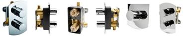 ALFI brand Polished Chrome Round Knob 1 Way Thermostatic Shower Mixer