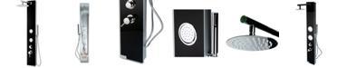 ALFI brand Black Glass Shower Panel with 2 Body Sprays and Rain Shower Head