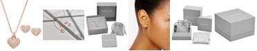 "Michael Kors Sterling Silver Pavé Puffy Heart Pendant Necklace & Stud Earrings Set, 16"" + 2"" extender"