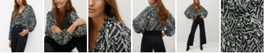 MANGO Women's Ruffles Printed Blouse