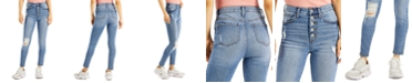 Celebrity Pink Juniors' Distressed High-Rise Button-Fly Skinny Jeans