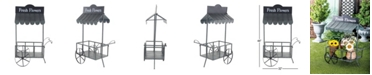 Rosemary Lane Farmhouse Iron Flower Cart with Roof