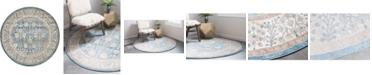 Bridgeport Home Bellmere Bel3 Light Blue 4' x 4' Round Area Rug