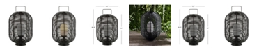 "JONATHAN Y Kandella 26.7"" Outdoor Woven Oval Asian LED Lantern"