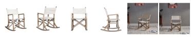 Burnham Home Designs Folding Wooden Rocking Chair with Linen Seat