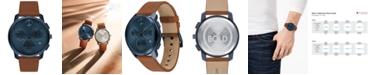 Movado Men's Swiss Chronograph Brown Cognac Leather Strap Watch 42mm