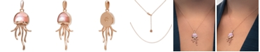 """Marahlago Mother-of-Pearl & White Sapphire (1/20 ct. t.w.) Jellyfish 21"""" Pendant Necklace in Rose Gold-Plated Sterling Silver"""