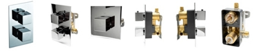 ALFI brand Polished Chrome Square Knob 1 Way Thermostatic Shower Mixer