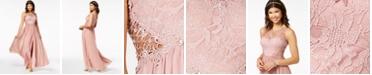 City Studios Juniors' Embellished Illusion Tulip Gown