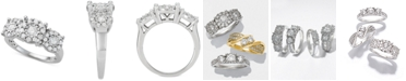 Macy's Diamond Halo Cluster Trio Engagement Ring (1 ct. t.w.) in 14k White Gold
