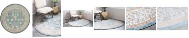 Bridgeport Home Bellmere Bel3 Light Blue 6' x 6' Round Area Rug