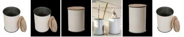 Glitzhome Set of 2 Farmhouse Metal Enamel Storage Stool