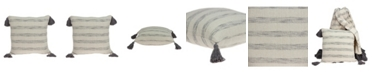 Parkland Collection Seema Transitional Beige Printed Striped Tassel Pillow Cover with Polyester Insert