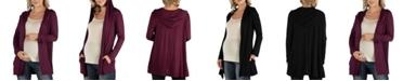 24seven Comfort Apparel Long Sleeve Pocket Hoodie Maternity Cardigan