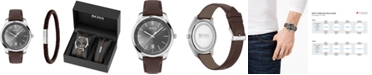 BOSS Men's Bracelet & Circuit Brown Leather Strap Boxed Watch 42mm Gift Set