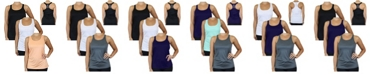 Galaxy By Harvic Women's Moisture Wicking Racerback Tanks, Pack of 3