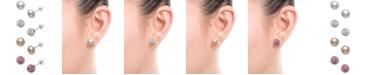 Macy's 4-Pc. Set Cultured Freshwater Pearl (8mm) & Crystal Stud Earrings in Sterling Silver