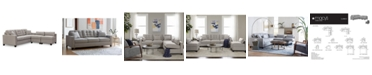 """Furniture Clarke II 93"""" Fabric Estate Sofa with Two Storage Armless Chairs, Created for Macy's"""