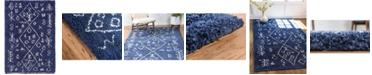 Bridgeport Home Fazil Shag Faz1 Navy Blue 4' x 6' Area Rug