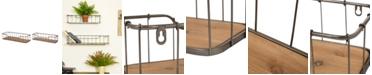 Glitzhome Farmhouse Wood and Metal Wall Shelf, Set of 2