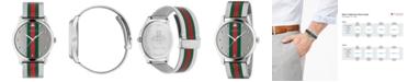 Gucci Men's Swiss G-Timeless Multicolor Stripe Stainless Steel Mesh Bracelet Watch 42mm
