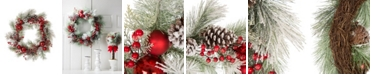 Glitzhome Flocked Pinecone Ornament Wreath
