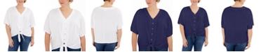 Michael Kors Plus Size Button-Front Tie-Hem Top