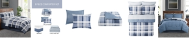 Pem America Chambray Plaid  King 8PC Comforter Set
