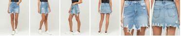 VERVET Women's Heavily Distressed Uneven Raw Hem Mini Denim Skirt