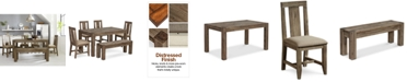 """Furniture Canyon Small 6-Pc.Dining Set, (60"""" Dining Table, 4 Side Chairs & Bench), Created for Macy's"""