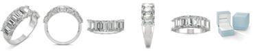 Charles & Colvard Moissanite Emerald Seven Stone Ring (4 ct. tw.) in 14k White Gold