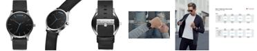 MVMT Men's Classic Black Leather Strap Watch 45mm