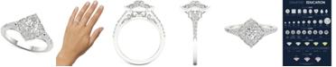 Macy's Diamond (3/4 ct. t.w.) Filigree Milgrain Engagement Ring in 14k White Gold