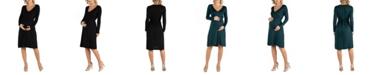 24seven Comfort Apparel Women's V-Neck Long Sleeve Professional Maternity Dress