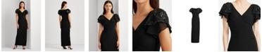 Lauren Ralph Lauren Embellished Flutter-Sleeve Gown, Created for Macy's