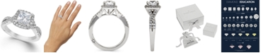 Marchesa Certified Princess Cut Diamond Twist Halo Engagement Ring (1-1/3 ct. t.w.) by in 18k White Gold, Created for Macy's