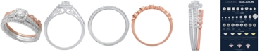 Macy's 3-Pc. Two-Tone Diamond Bridal Ring Set (3/4 ct. t.w.) in 14k White & Rose Gold