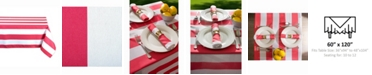 """Design Imports Coral Cabana Stripe Outdoor Table cloth 60"""" X 120"""""""