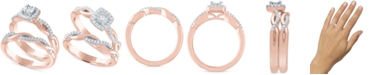 Promised Love Diamond Bridal Set (1/4 ct. t.w.) in 14k Rose Gold Over Sterling Silver