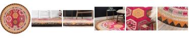 Bridgeport Home CLOSEOUT! Arcata Arc8 Red 6' x 6' Round Area Rug