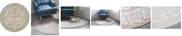 Bridgeport Home Bellmere Bel3 Gray 4' x 4' Round Area Rug
