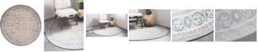 Bridgeport Home Bellmere Bel4 Gray 4' x 4' Round Area Rug