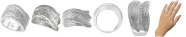 EFFY Collection EFFY® Diamond Textured Wide Statement Ring (1/4 ct. t.w.) in Sterling Silver