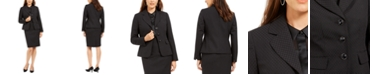 Le Suit Notched-Lapel Embossed Skirt Suit