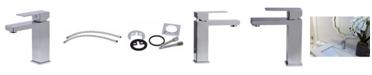 ALFI brand Polished Chrome Square Single Lever Bathroom Faucet