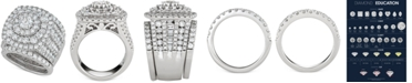 Macy's 3-Pc. Diamond Multi-Halo Cluster Bridal Set (5-3/8 ct. t.w.) in 14k White Gold