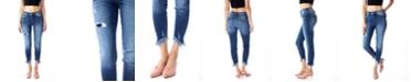 Kancan High Rise Angled Frayed Hem Ankle Skinny