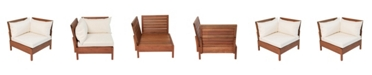 Alaterre Furniture Grass Eucalyptus Wood Outdoor Corner Chair with Cushions